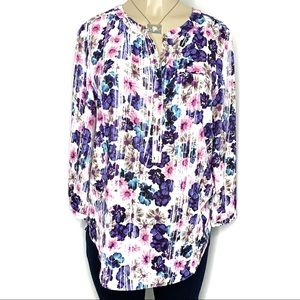 NYDJ Floral Pop-Over Blouse NWOT Small